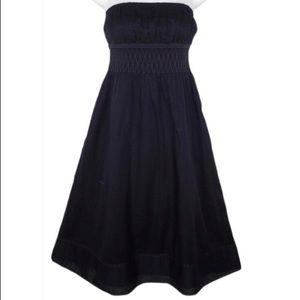 J. Crew Navy Strapless Ruched Detail Midi Dress